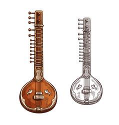 Sketch sitar musical insturment icon vector