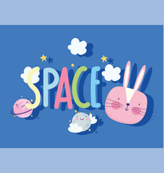 space rabbit face planets clouds stars cartoon vector image