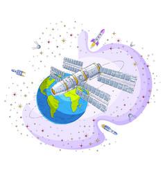 Space station flying orbital spaceflight around vector