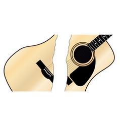 Split and broken maple acoustic guitar vector