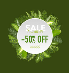 summer sale tropical palm leaves banner vector image