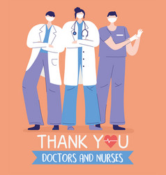 Thank you doctors and nurses female and male vector