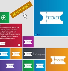 Ticket icon sign Metro style buttons Modern vector