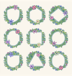 tropical flower frame collection vector image