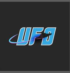 ufo logo blue lettering for t-shirt print emblem vector image