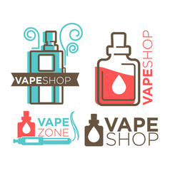 vape shop logotypes on white flat vector image