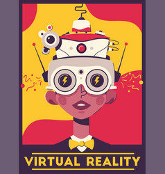 virtual reality retro style poster template vector image