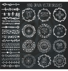 Winter doodle christmas decor vector