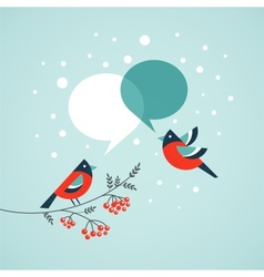 Christmas tree with birds and speech bubbles vector image