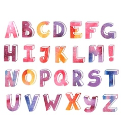 colorful watercolor hand drawn alphabet vector image vector image