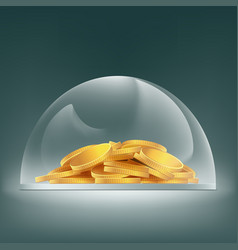 heap of gold coins under the glass dome savings vector image