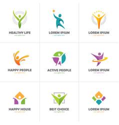Set of abstract colorful human logo vector