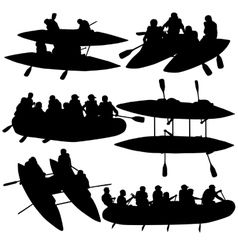 Silhouette collection people rafters on boats vector image vector image