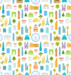 Different world famouse sights and city buildings vector