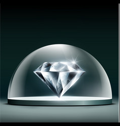 gem diamond cover glass dome vector image vector image