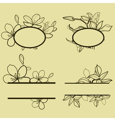 new flower set frame vector image vector image