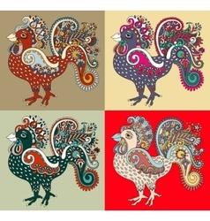 Original retro cartoon chicken drawing symbol of vector