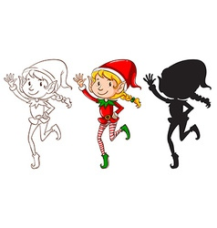 Sketches of an elf in three colors vector image vector image