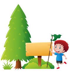 Wooden sign template with boy in park vector