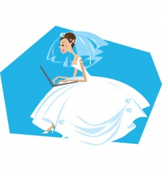 bride working on a computer vector image