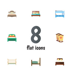 flat bed set of crib bedroom bed and other vector image vector image