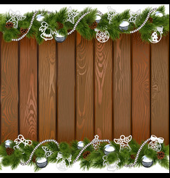 Seamless Christmas Board with Silver Decorations vector image vector image