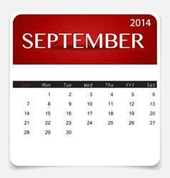 Simple 2014 calendar September vector image