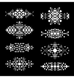 Tribal white elements on black background vector image