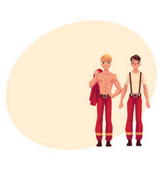 two firefighters firemen at rest with naked vector image
