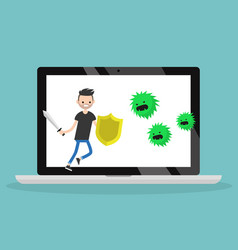 young bearded man fighting against virus flat vector image vector image