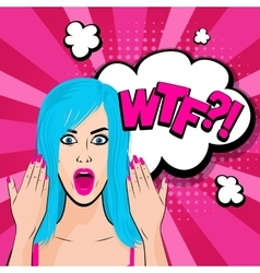 Angry young blue hair girl pop art vector image