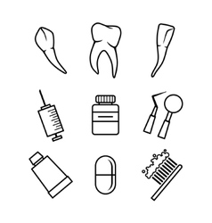 Dental icons set on white background vector image vector image