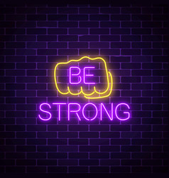 glowing neon sign of human fist with wish to be vector image vector image