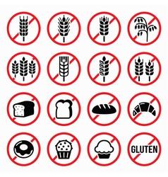 Gluten free signs no wheat no bread no cake vector image vector image