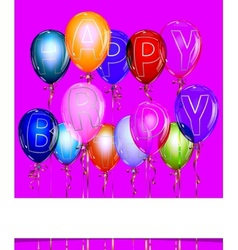 Happy Birthday Balloon Background with Gold vector image vector image