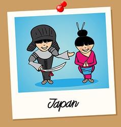 Japan travel polaroid people vector image vector image