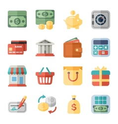 money finance shopping flat icons vector image