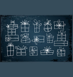 white doodle christmas gift boxes vector image vector image