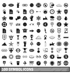 100 symbol icons set simple style vector