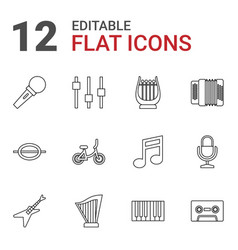 12 musical icons vector image
