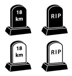 3d milestone tombstone black symbols vector
