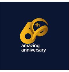 60 years amazing anniversary celebration template vector