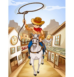 A village with a young boy riding in a horse vector image