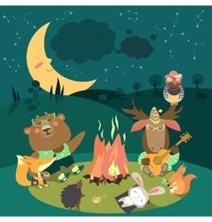 Animals resting around bonfire vector image