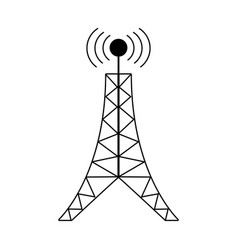 Antenna tower broadcast connection pictogram vector