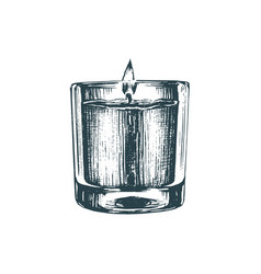 aroma candle sketch in drawn vector image