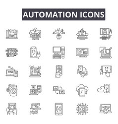 Automation line icons for web and mobile design vector