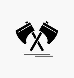 axe hatchet tool cutter viking glyph icon isolated vector image