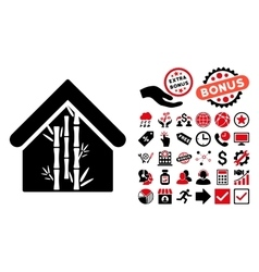 Bamboo house flat icon with bonus vector