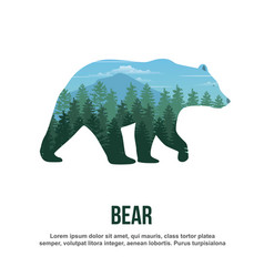 Bear double exposure vector